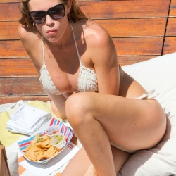 Abbey Clancy Bikini Sunbathing in Los Angeles