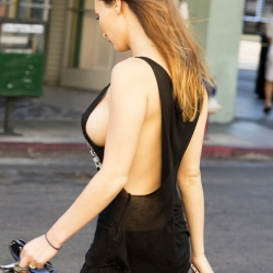 Amy Markham goes braless showing sideboob