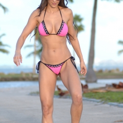Anais Zanotti bikini skateboards in Miami