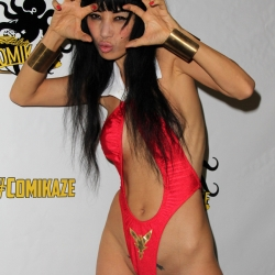Bai Ling in a Revealing Red Outfit