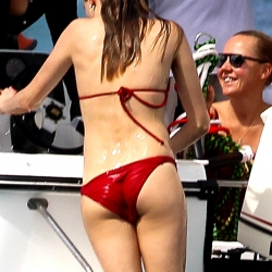 Cara Delevingne in a red hot bikini