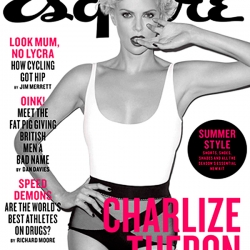Charlize Theron in a Bra for Esquire UK