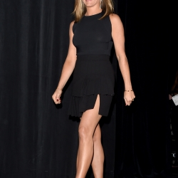 Jennifer Aniston Nipples in See-Through Black Dress at Cake Premiere