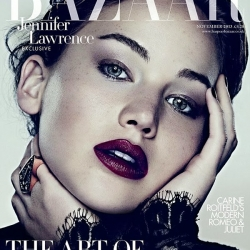 Jennifer Lawrence see through Harper Bazaar