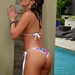 Jennifer Nicole Lee bikini slips poolside
