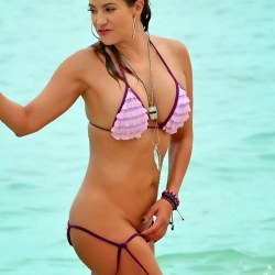 jennifer nicole lee purple bikini on miami beach