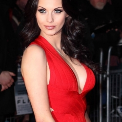 Jessica Jane red cleavy dress at movie premiere