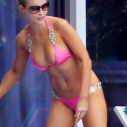 Joanna Krupa pink bikini by the pool