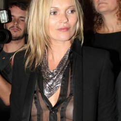 kate moss goes braless in a see through top