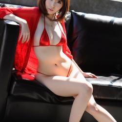 Kurara Horie Topless in a Red Bikini
