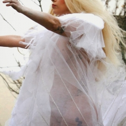 Lady Gaga see through white dress