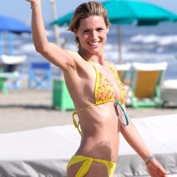 Michelle Hunziker Bikini Candids on the Beach