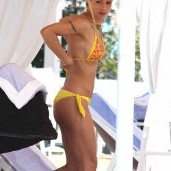Michelle Hunziker Bikini Candids on the Beach