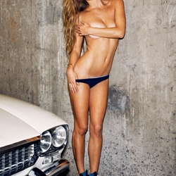Nina Agdal covered topless for Cover Man Winter Mag