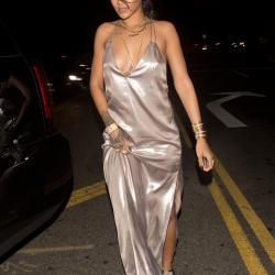 Rihanna Braless in a Dress