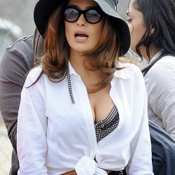 Salma Hayek cleavy on set