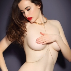 Sarah Stephens covered topless in Agent Provocateu