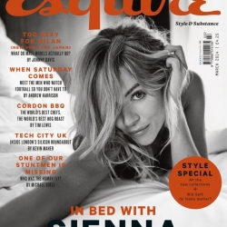 Sienna Miller topless on bed for Esquire