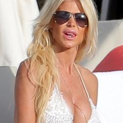 Victoria Silvstedt in a white bikini in St Barts