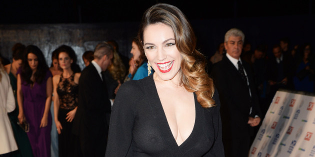 Kelly Brook bra-less at at the 2014 NTAs
