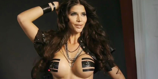 Micaela Schafer Covered in Only Black Tape
