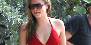 Cara Delevingne Red Hot Bikini