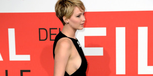 Jennifer Lawrence sideboob at premiere in Rome